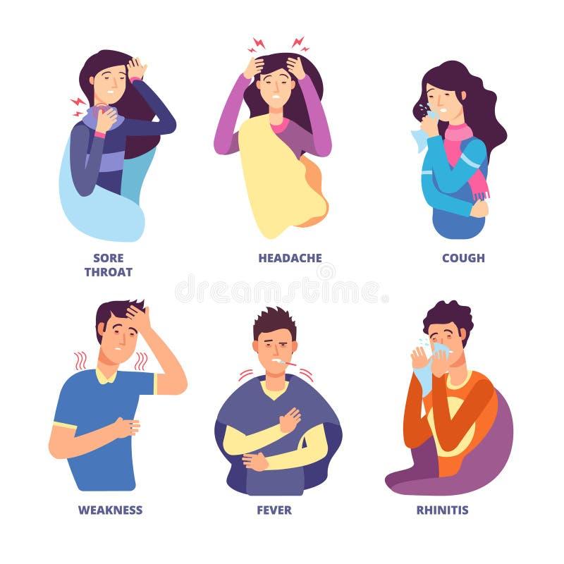 Griepsymptomen Mensen die koude ziekte aantonen Koortshoest, snotkou, duizeligheid Vectorkarakters voor griep stock illustratie