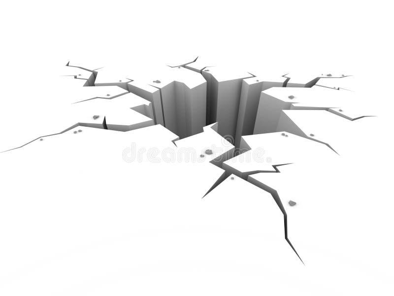 Grieta de tierra de la tierra en blanco ilustración del vector