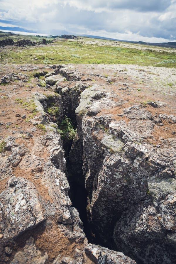 grieta en el parque nacional del thingvellir, Islandia imagen de archivo libre de regalías