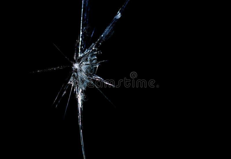 Grieta en fondo quebrado del negro del espejo de cristal fotos de archivo libres de regalías