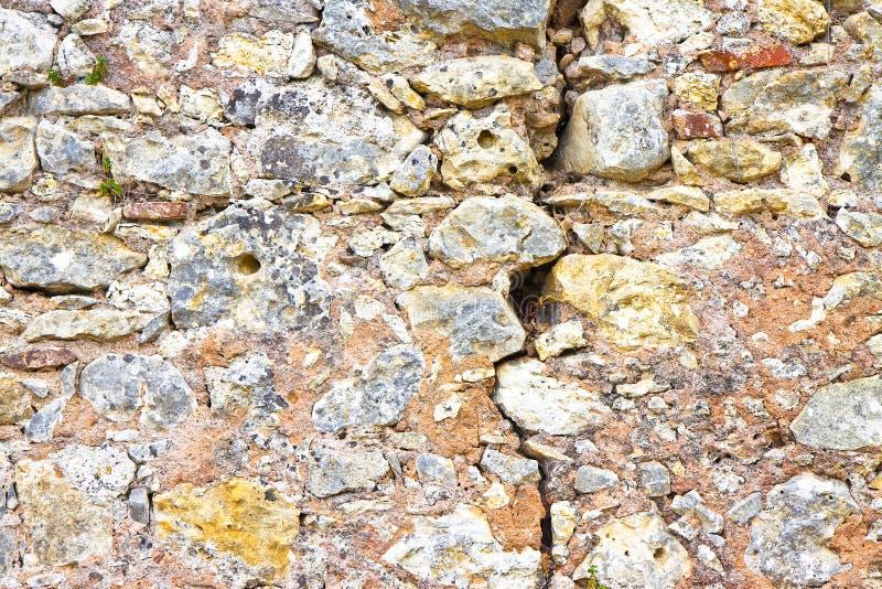 Grieta profunda en la pared de piedra vieja - imagen del concepto foto de archivo libre de regalías