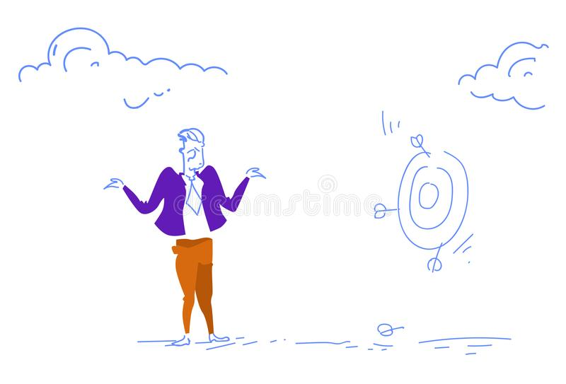 Grieved businessman miss unsuccessful shot target goal business failure concept confused man sketch doodle horizontal. Vector illustration vector illustration