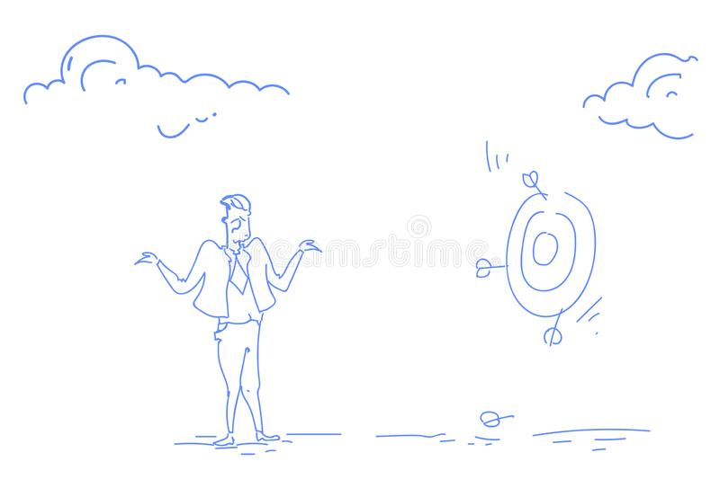 Grieved businessman miss unsuccessful shot target goal business failure concept confused man sketch doodle horizontal. Vector illustration royalty free illustration