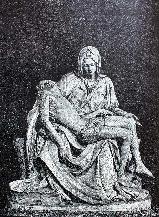 Free Grieving Mother Of God By Michelangelo In The Vintage Book Michelangelo By S.M. Bryliant, St. Petersburg, 1891 Royalty Free Stock Photography - 180168537