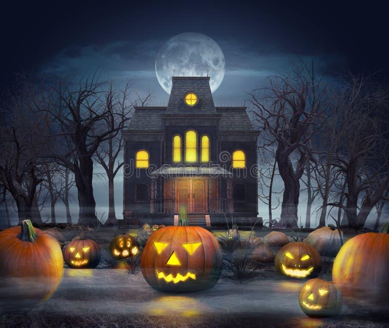Griezelig achtervolgd spookhuis in Halloween op pompoengebied stock illustratie