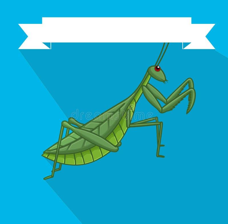 Griezelig Bidsprinkhaneninsect royalty-vrije illustratie