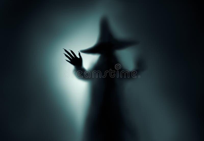 Griezelig heksensilhouet royalty-vrije stock afbeelding