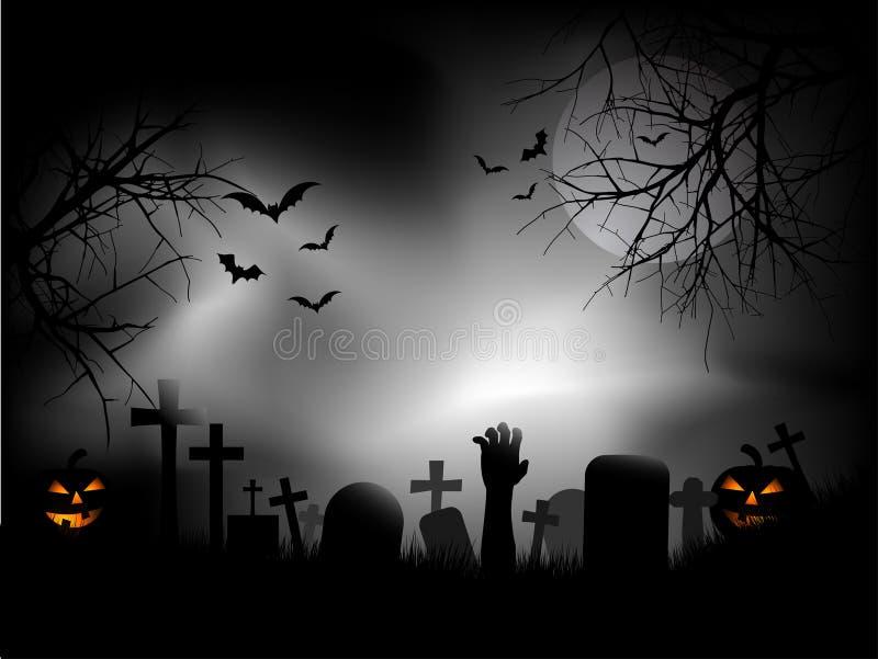 Griezelig kerkhof stock illustratie