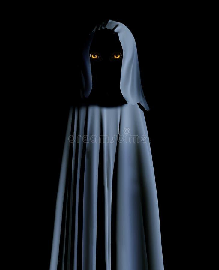 Griezelig monster in mantel met een kap met gloeiende gele ogen royalty-vrije illustratie