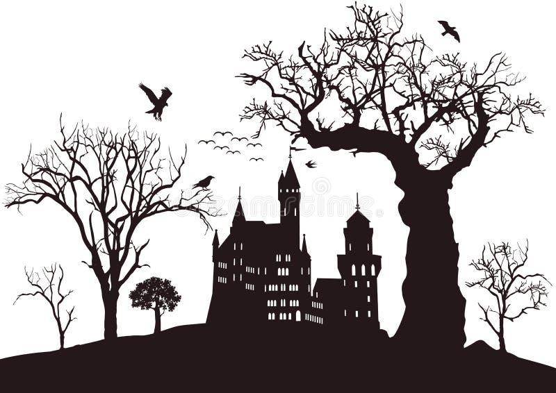 Griezelig zwart kasteel royalty-vrije illustratie