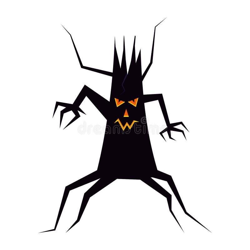 Griezelig zwart silhouet van droge Halloween-boom met lichtgevende ogen, neus en mond, ontzagwekkend gezicht vector illustratie