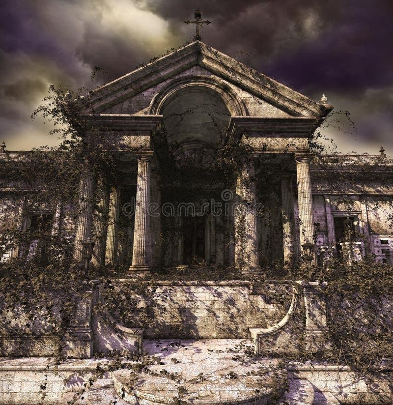 Griezelige achtervolgende ruïnes van een oud tempel of een graf vector illustratie