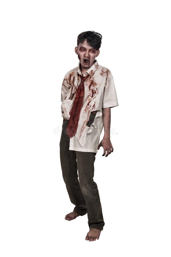 Griezelige Aziatische zombiemens met bloedige gezicht status royalty-vrije stock fotografie