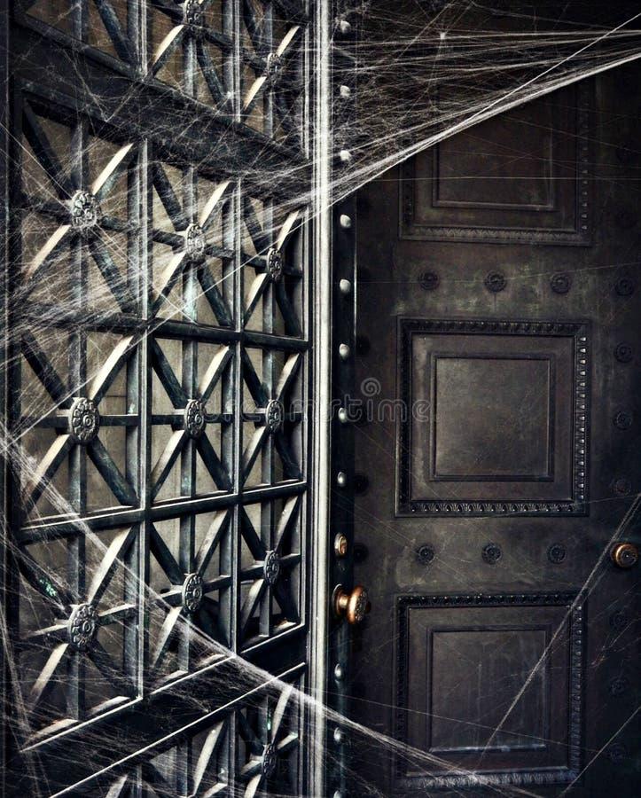 Griezelige die Cryptdeur in Spiderwebs wordt behandeld royalty-vrije stock fotografie