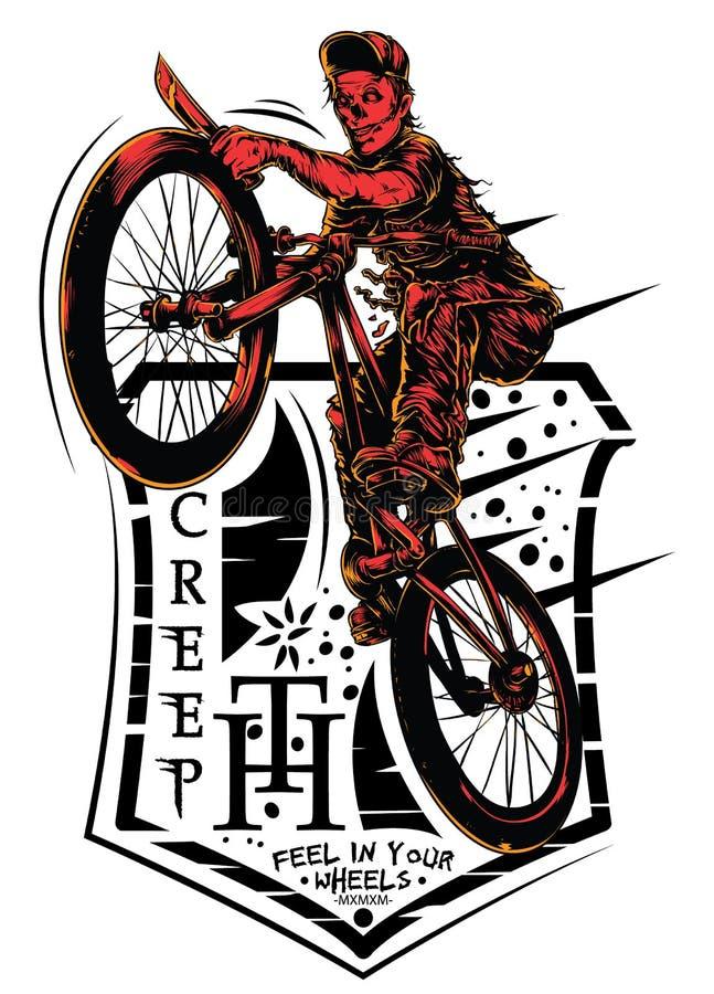 Griezelige fietser royalty-vrije illustratie
