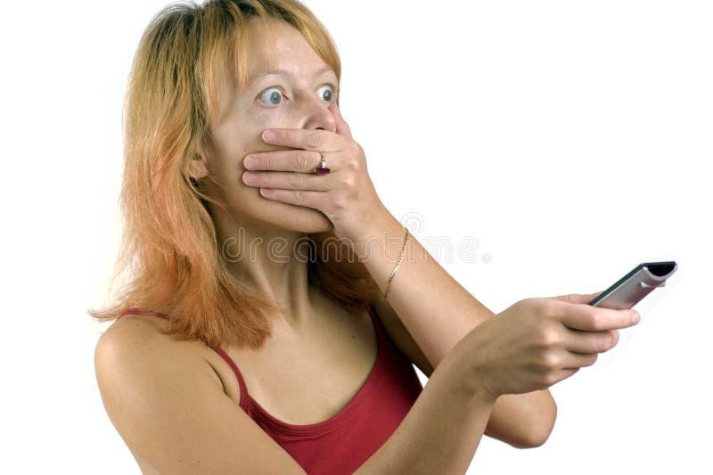 Griezelige gillende vrouw stock afbeelding