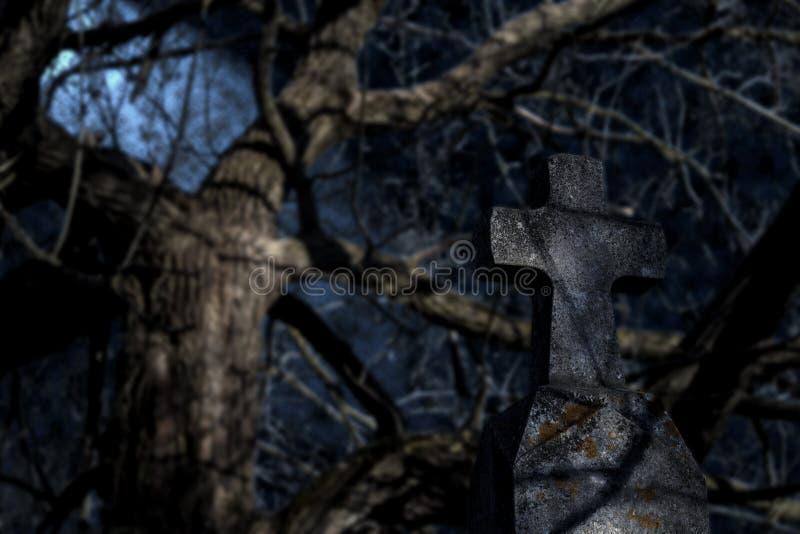 Griezelige grafsteen bij nacht voor een het huilen wilg royalty-vrije stock afbeelding
