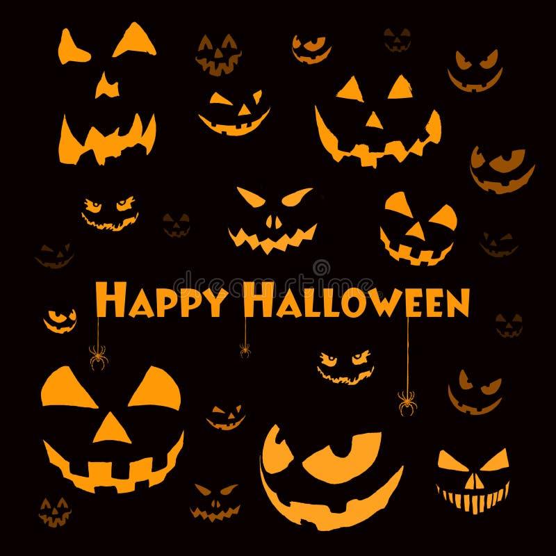 Griezelige Halloween gezichten op zwarte royalty-vrije illustratie