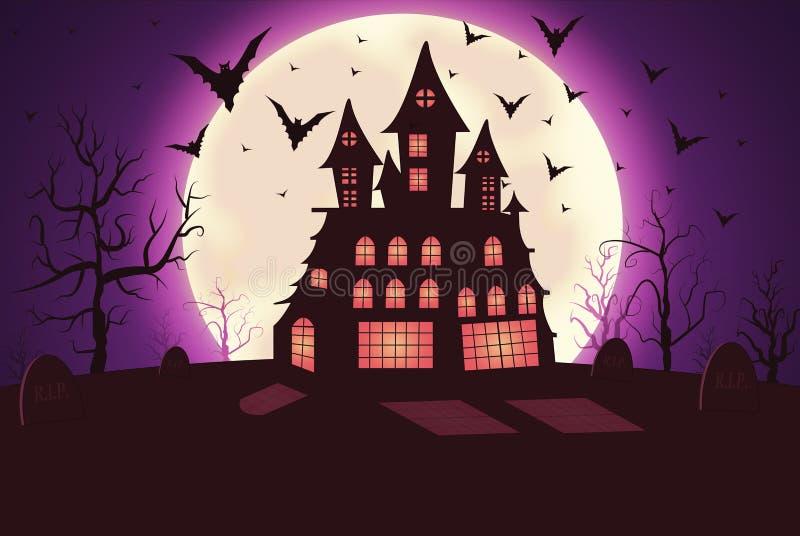 Griezelige Halloween nacht royalty-vrije illustratie