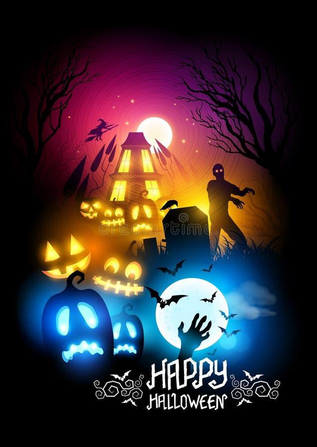 Griezelige Halloween nacht vector illustratie