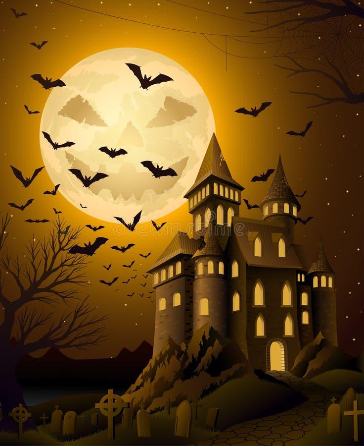 Griezelige Halloween-nacht, met achtervolgd kasteel stock illustratie