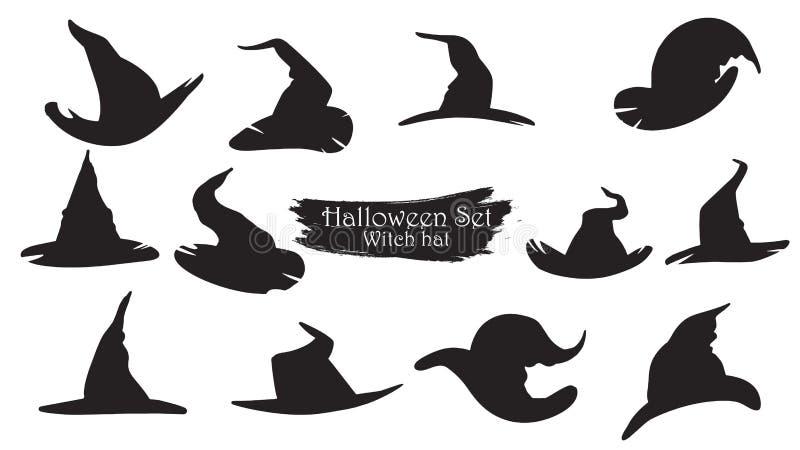 Griezelige het silhouetinzameling van heksenhoeden van vectorisol van Halloween stock illustratie