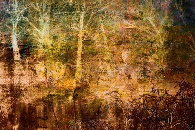 Griezelige kunst grunge achtergrond met bomen vector illustratie