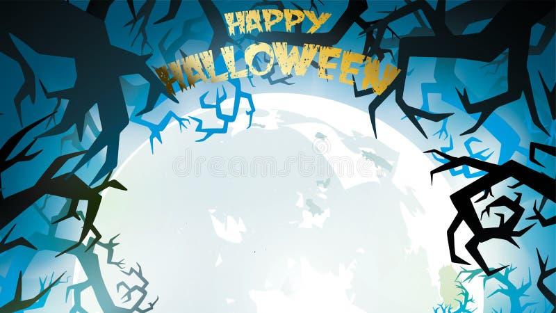 Griezelige nachtachtergrond met volle maan, enge bomen en bossilhouetten Halloween-banner met exemplaarruimte voor groeten, voor  royalty-vrije illustratie