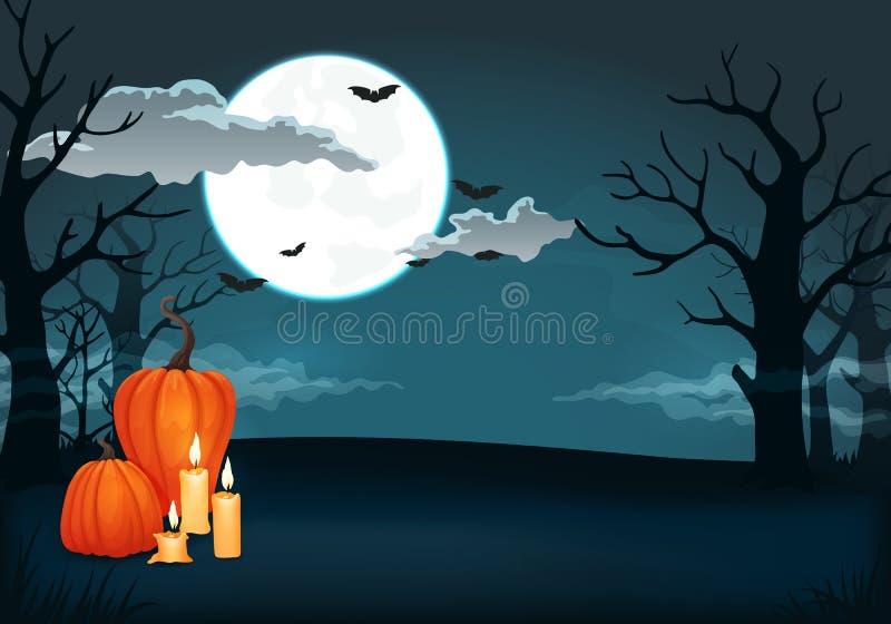 Griezelige nachtachtergrond met volle maan, wolken, knuppels, pompoenen, kaarsen en bomen vector illustratie