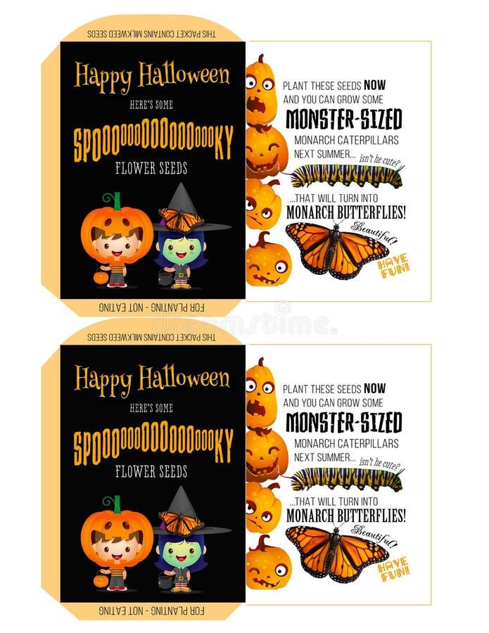 Griezelige Zaden voor Halloween - truc-of-Treaters royalty-vrije illustratie