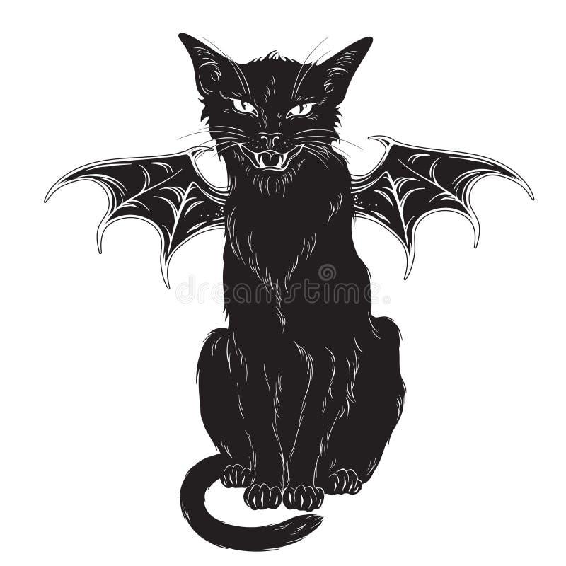 Griezelige zwarte die kat met monstervleugels over witte achtergrond worden geïsoleerd Wiccan vertrouwde geest, Halloween of heid stock illustratie