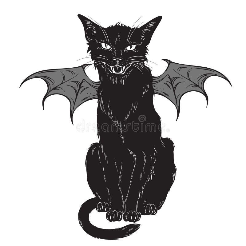 Griezelige zwarte die kat met monstervleugels over witte achtergrond worden geïsoleerd Wiccan vertrouwde geest, Halloween of heid royalty-vrije illustratie