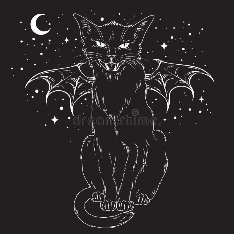 Griezelige zwarte kat met monstervleugels over nachthemel stock illustratie