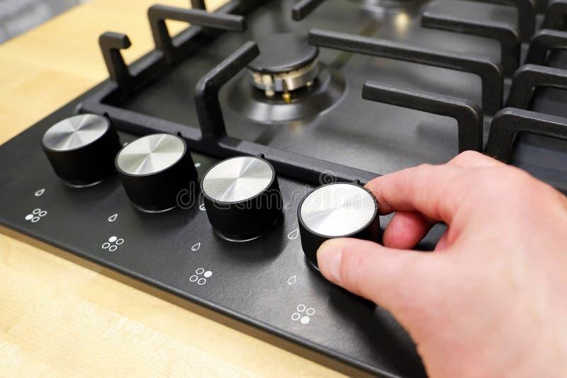 Griff steuern die Position von Modi für das Kochen im Ofen Großaufnahme von oben stockbilder