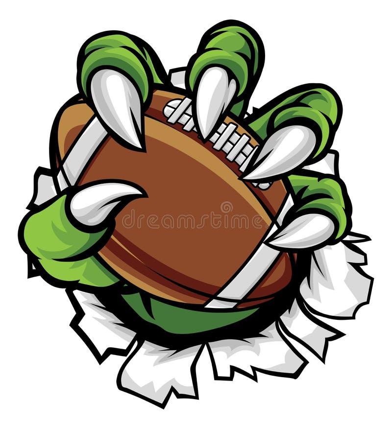 Griffe animale de monstre tenant la boule de football américain illustration stock