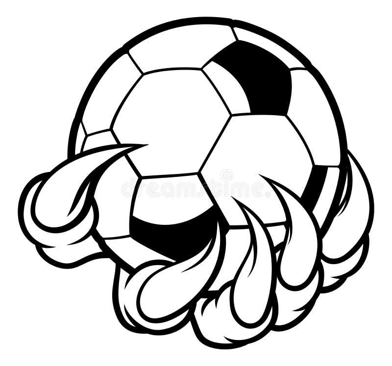 Griffe animale de monstre tenant la boule du football du football illustration libre de droits