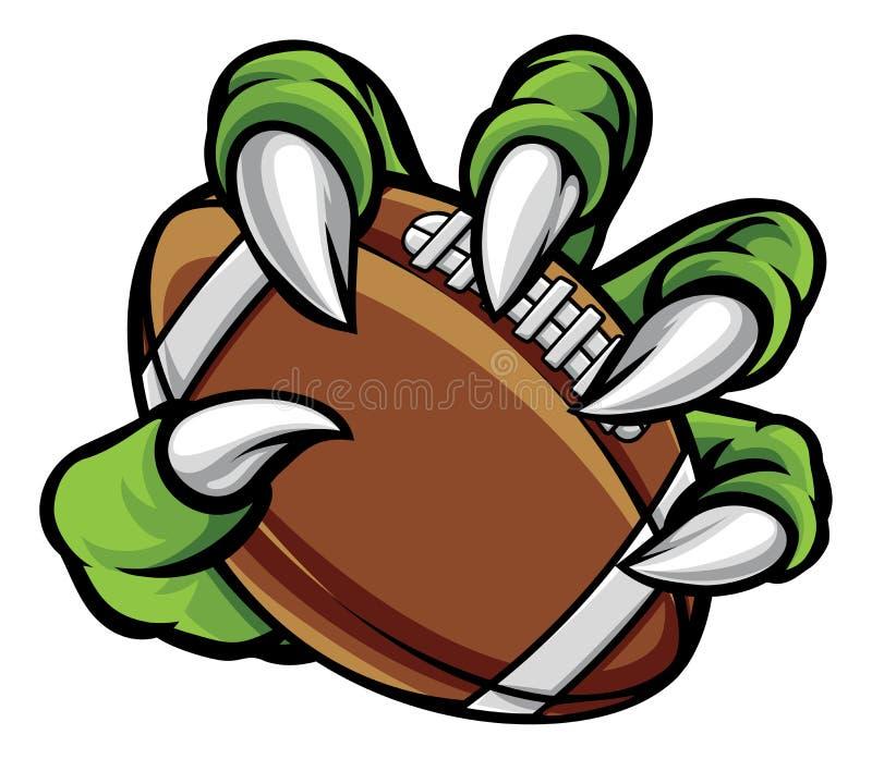 Griffe animale de monstre tenant la boule de football américain illustration libre de droits