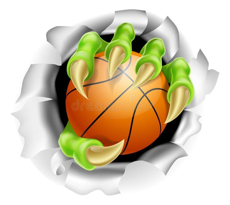Griffe avec l'éclatement de boule de basket-ball du fond illustration libre de droits