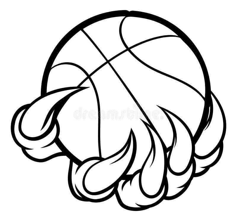 Griffe de monstre ou d'animal tenant la boule de basket-ball illustration de vecteur