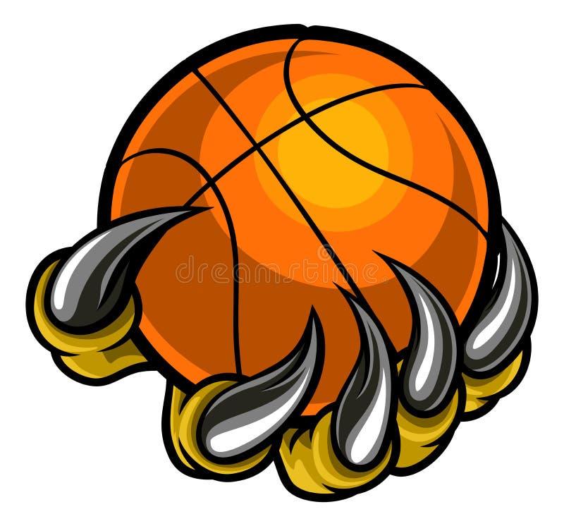 Griffe de monstre ou d'animal tenant la boule de basket-ball illustration stock