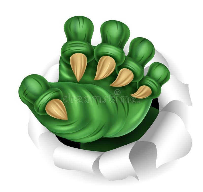 Griffe verte de monstre traversant en déchirant le déchirement illustration stock