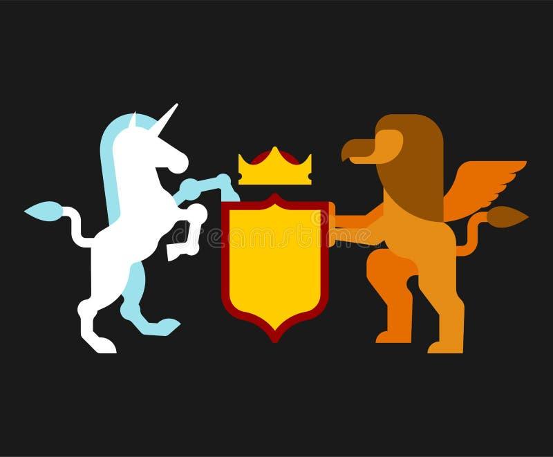 Griffin και εραλδικό σύμβολο ασπίδων μονοκέρων Ζώο σημαδιών για το παλτό απεικόνιση αποθεμάτων