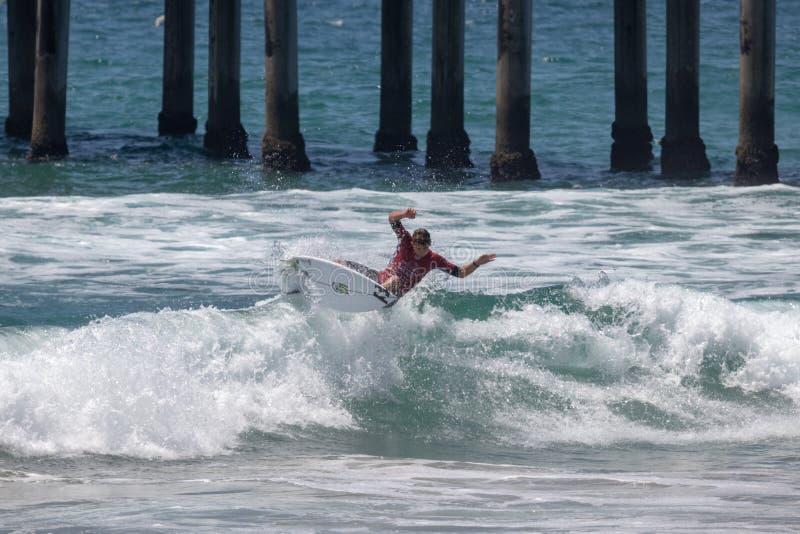 Griffin Colapinto que compite en el US Open de practicar surf 2018 fotografía de archivo libre de regalías