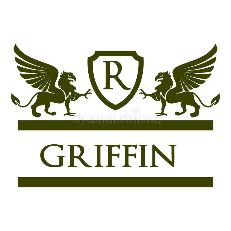 Griffin Heraldic Logo Vrctor Royal stock images