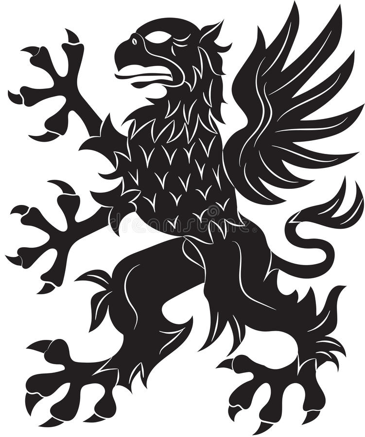 Griffin heraldry symbol. Vector illustration. Silhouette or outline royalty free illustration