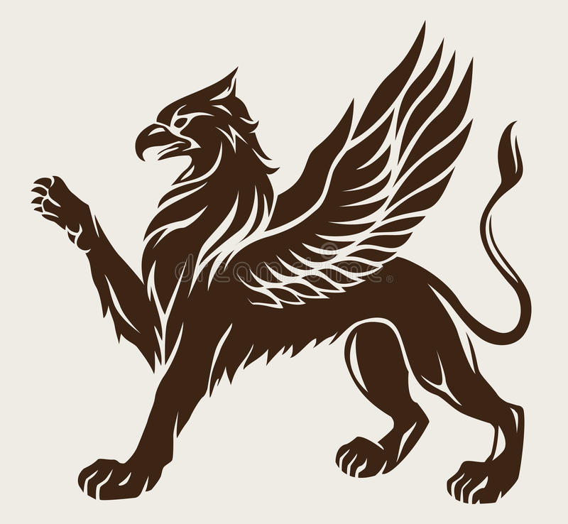 Griffin tattoo. Standing griffin with lifted paw. Stencil, symbol of the gryphon