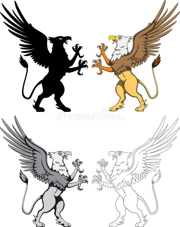 Griffin Vetora heráldico ilustração do vetor