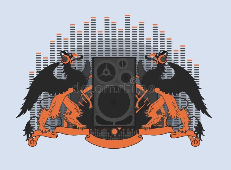 Griffins in headphones stock illustration