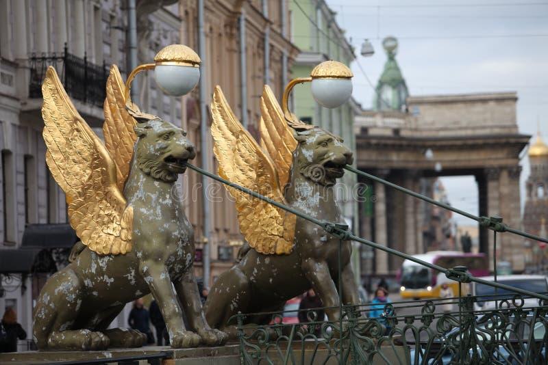 Griffins winged lions bank bridge in St. Petersburg. St. Petersburg, Russia, 23 February 2015 Bank Bridge Griffins winged lions royalty free stock photography