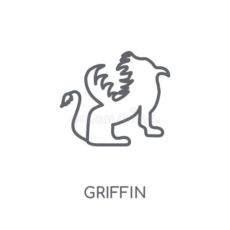 Griffioen lineair pictogram Modern het embleemconcept van de overzichtsgriffioen op whit stock illustratie